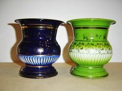 Antik Lampart zománc váza párban