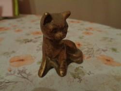 Tömör réz macska szobrocska