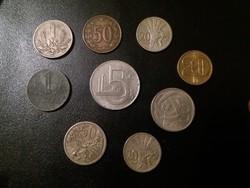 Csehszlovák blokk, 9 darab érme egyben.