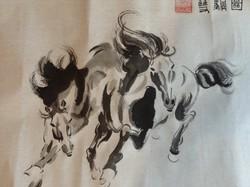 Kínai Fekete paripák lovak tusfestmény akvarell  ló Lovas szignózott piros pecsét eredeti kézi munka