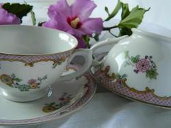 Antik teás, kávés szett, csésze kistányér, lila szegély