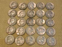 1964 Amerikai ezüst 1/4 dollár D veret 25 db együtt.