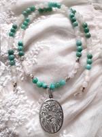 Egyedi kézműves ásványköves szett ezüst medállal és szerelékkel