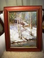 Szántó Lukács Téli táj festmény