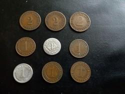 Német 1 és 2 pfennig lot  9 darab.