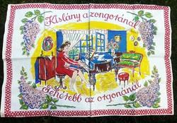 Nagyon ritka, régi falvédő, kislány a zongoránál Koós sláger szöveggel 22.