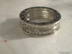BVLGARI ezüstszinű gyürű kristályokkal