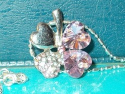 Szerencse-Szív - Lóhere Kristály Medál és ezüst  nyaklánc