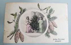 Régi karácsonyi képeslap 1916. K.u.K. hadsereg bélyegző Császári és Királyi Hadsereg