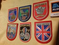 6 db felvarrható retró angol szuvenír címer: Anglia, London, Dover, Cambridge, Wales