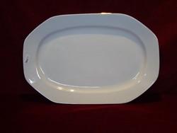 JRJS porcelán nyolc szögletű húsos tál, hófehér, arany szegéllyel.