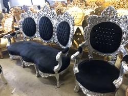 Ezüst -fekete huzatos barokk ülőgarnitúra