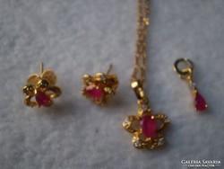 Luxus 14.k. Gold filled garnitúra mest. rubinttal