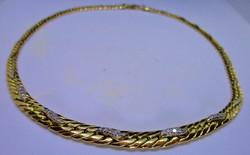 Szépséges 0.45ct brill arany nyakék 22.7g
