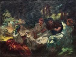 """Péczely Antal (1891 - 1960 ) """" Lányok a ligetben...!!"""