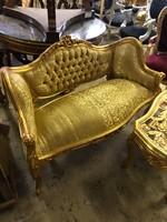 Aranyozott -arany huzatos szófa -kis pad-fotel
