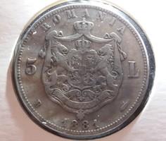 Ritkább román ezüst 5 lei 1881 B.