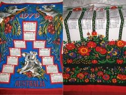 1978 és 1979-es festett textil fali naptár + ajándékba 1 db 1974-es