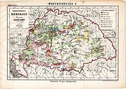 A magyarországi borfajok, térkép 1885, Hátsek Ignácz, 20 x 29 cm, bor, borászat, fajta, aszú, vörös