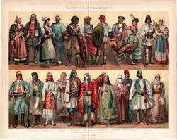 Európai népviseletek II., 1896, színes nyomat, eredeti, magyar nyelvű, viselet, olasz, spanyol