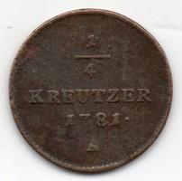 Ausztria 1/4 osztrák krajcár, 1781A