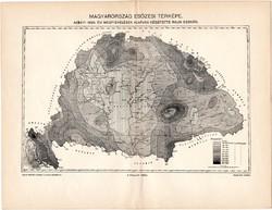 Magyarország esőzési térképe 1896, lexikon melléklet, egy színű nyomat, eső, meteorológia