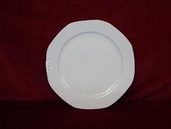 JRJS hófehér alapon arany szegélyes, 8 szögletű süteményes tányér.