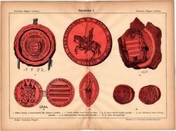 Pecséttár I., egyszín nyomat 1885, Magyar Lexikon, Rautmann Frigyes, pecsét, Bátori, 1330, 1492