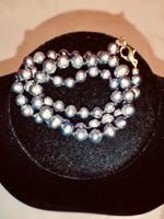 Valódi fekete/lilás/ezüst akoya gyöngy nyaklánc eladó