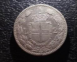 Szép olasz ezüst 2 líra 1887.