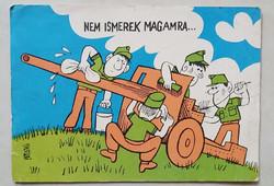 Retro képeslap rajzos katonai karikatúra üdvözlőlap