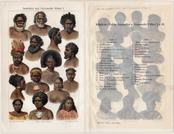 Ausztrál népfajok, színes nyomat 1903, német, litográfia, Ausztrália, ember, nép, őslakos, Óceánia