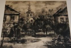 Bordás Ferenc antik jelzett rézkarc