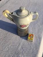 Retro Meseszép kávéfőző - hollóházi porcelán kiöntővel - kotyogó - aranyszélű és virágos