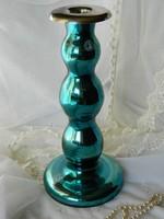Türkiz üveg gyertyatartó