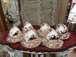6 db art deco ezüst teás csésze aljával