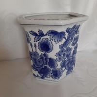 Fehér kék virág mintás, kínai kaspó.