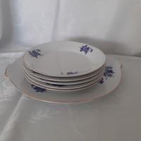Fehér-kék virág mintás porcelán süteményes készlet, tányér készlet