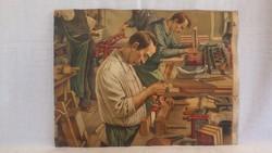 Könyvkötő műhely mesterekkel régi litográfia