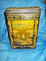 Antik nagyméretű teásdoboz fémdoboz 27cm