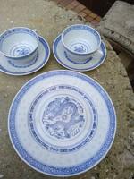 Porcelán, sütis készlet, teás csészékkel