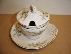 Antik porcelán cukortartó, mézes edényke, pici mártásos tál