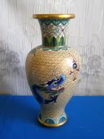Nagyon szép tűzzománc rekeszzománc (Cloissoné) kínai váza sárkány mintával 16 cm magas