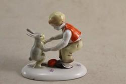Német porcelán fiú nyuszival G163