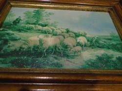 Gyönyörű olajfestmény életkép a XIX. századból, ismeretlen festő muzeális darab