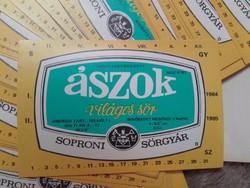 Soproni ÁSZOK SÖR CIMKE ,1984 ből, 50 ft db-ja