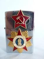 Ritka,sosem használt vörös csillagos,szovjet címeres Zippo öngyújtó