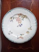 Antik Longway fajansz kínáló polychrom festéssel
