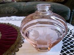 Szép régi rózsaszín parfümös üveg