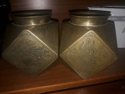 Régi Kínai teafű tartó doboz, váza párban 100EUR